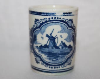 A1 Blue Delft Short Shot Glass Vandermint Hand Painted Delft Holland Crown Toothpick Holder Pottery Cordial