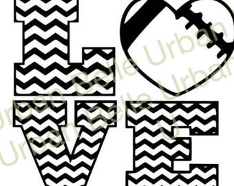 Chevron Love Football .svg . Dxf cutting file vinyl paper