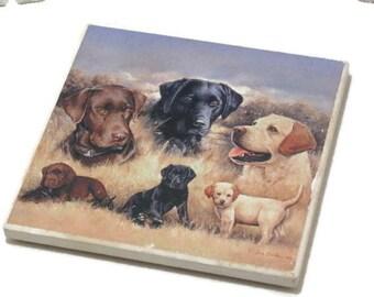 Vintage Coaster, Ceramic Labrador Retriever,  Single Coaster, Home Decor, Dog Coaster, Single Coaster, Dog Decor, Home Decor Coaster, Decor