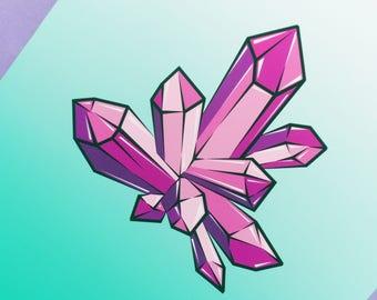 Crystal Illustration  - A3 Print - Art Print Crystal - Amethyst Print - Crystal Cluster Art Print - Quirky Art Print - Girlfriend Gift