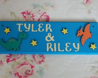 Dinosaur personalised kids sign bedroom door Name sign / Name plaque / Name plate shared bedrooms dinosaur nursery. Any colours, Any Names.