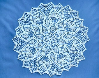 Crochet doily, large doily, openwork knitted doily. White elegant crochet doily. Round crochet centerpiece. Tablecloth crocheted lace doily