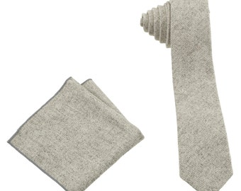 2-piece Men's Wool Tie and Handkerchief (Pocket Square) set, Ash Grey Herringbone Colour (2PC-TIE-1), Packaged in Beautiful Gift Tin