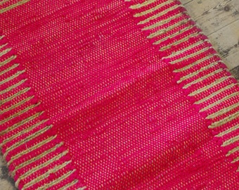 Red/Pink Cotton and Jute Runner Rag Rug 60 x 180cm Hand Made Recycled Boho Scandi Hippie Loom Woven Traditional