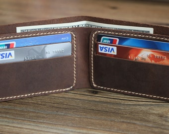 Men's Leather Wallet, Minimalist Bifold, Groomsmen Gift, Bridesmaid Gift, Rustic Vintage Leather Card Holder, Best Gift, Xmas Gift-R028