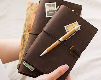 Traveller's Journal, Distressed Cow Leather Notebook, Leather Journal, Personalized Journal/Notebook, Fathers' Day Gift, Anniversary Gift