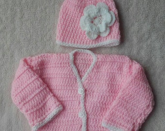 Baby girl sweater, crochet sweater, baby girl hat, crochet girl hat, newborn girl sweater, ready to ship