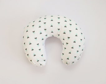 Nursing Pillow Cover: Mint and Gray Triangle. Modern Nursing Pillow Cover.Modern Triangle Nursing Pillow.Gender Neutral Nursing Pillow Cover