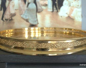 24k Gold Plated Serving Tray 14 Round Vanity Tray Ornate Gold Filigree Tray