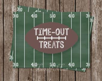 Time Out Treats Tag, Football Birthday Decorations, Football Party, Sports Birthday, Sports Decorations, Digital, Printable