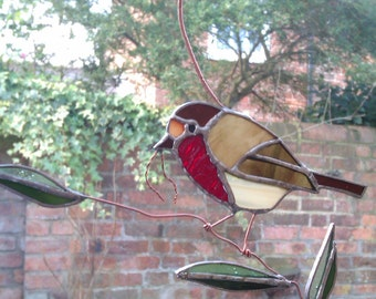Robin stained glass light catcher