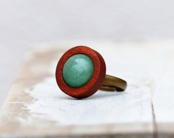 Ring with Wood & Aventurine - feminine, natural jewelery