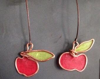 Apple wireart earrings copper