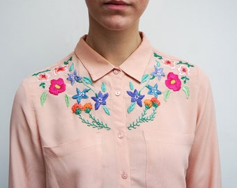 Hand Embroidered Floral Shirt