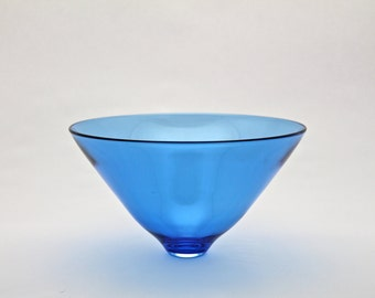 Blue hand blown glass bowl