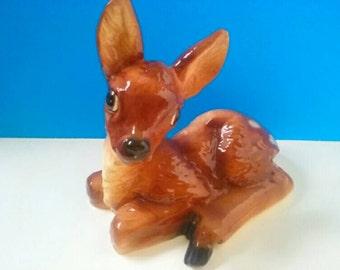Adorable Vintage Ceramic Fawn, Handmade, Vintage Fawn, Ceramic Deer, Deer Decor, Ceramic Fawn, Vintage Woodland Creature.