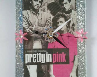 Handmade Acrylic Pretty In Pink Clock, Retro Movie Clock, Molly Ringwald, Vintage, Wall Clock, Pretty In Pink, Made By Mod.