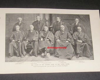 1899 Judges of the Supreme Court of the United States, Magazine Photo, Legal / Law Decor