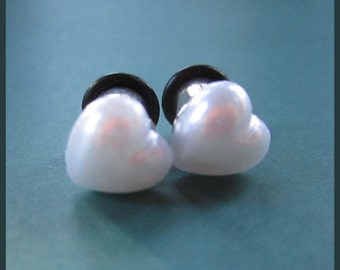 Small Pearl faux Heart on Stainless Steel EAR TUNNEL plug Earrings you pick gauge sizes - 12g, 8g, 6g, 4g aka 2mm, 3mm, 4mm, 5mm