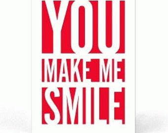 You Make Me Smile ,  PaperCut Card , Stars , Men , Women , Teens , Kids , Gift , Blank Inside , Free confetti