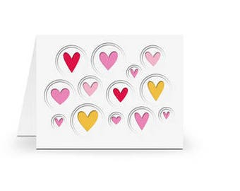 Hearts PaperCut Card , Blank inside , Layered , Free Confetti , Flourish , Men , Women , Teens , Kids , All Occasion