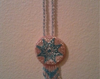 Beaded Native American medallion necklace