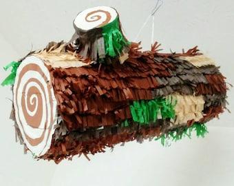 Log Pinata / trunk pinata/ tree trunk pinata/ lumberjack pinata