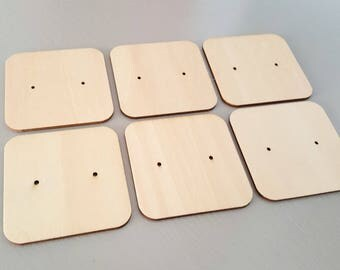 6 pc Laser Cut Plywood Earring Display Card SQUARE