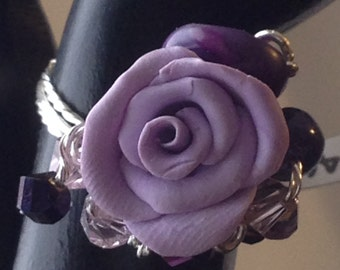 RR03S Lavender, rose ring, purple crystals, lavendar crystals, silver wire, size 7