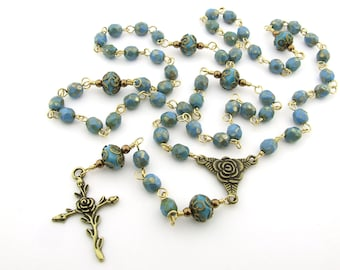 Catholic Rosary Beads - Blue Turquoise Five Decade Rosary - Rustic Style Antique Bronze Rosary - Catholic Gift
