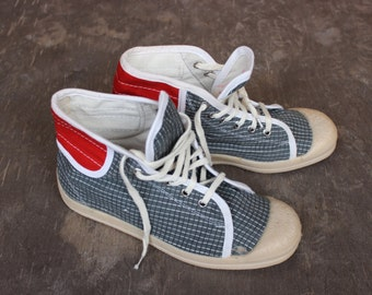 Unused Soviet Sneakers, Vintage Russian Canvas Shoes. Natural Grey and Red Sport Shoes, Made in USSR. Size EU 38/39