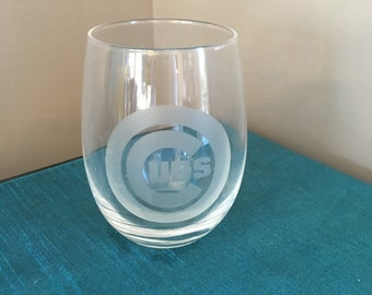 Set of 4 Chicago Cubs Wine Glasses