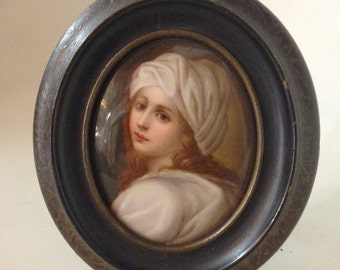 Beatrice Cenci Antique Hand Painted on Porcelain Portrait