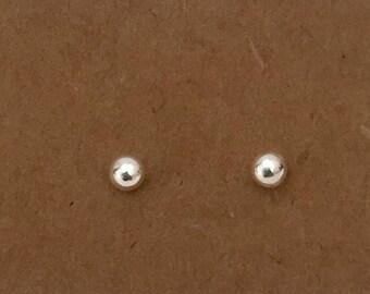 925 Silver Ball Stud Earrings   3 mm   Sterling Silver   Minimalist   Boho   Nickle Free   Great for sensitive ears