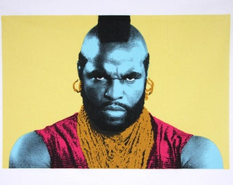 Mr T towel - hand printed 100% cotton tea towel