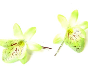2 x Green Orchid Flower Hair Grips Clips Bridesmaid Bobby Pins Slides Boho 2127