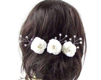 3 x Ivory Silver Rose Flower Vine Hair Pins Bridal Bridesmaid Wedding Vtg 2910