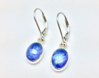 Tanzanite Earrings // 925 Sterling Silver // Oval Setting // Lever Backings // Natural Tanzanite