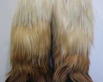 Vtg Tecnica Apres After Ski Winter Snow Goat Fur Goat Hair Boots Multi Color Ombre Italy 38
