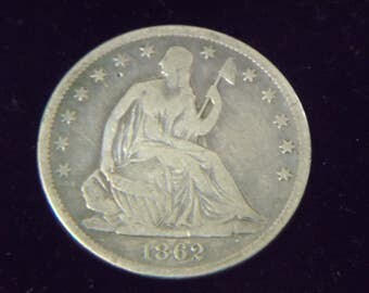 1862-S Seating Liberty Half Dollar - SILVER - Extra Fine