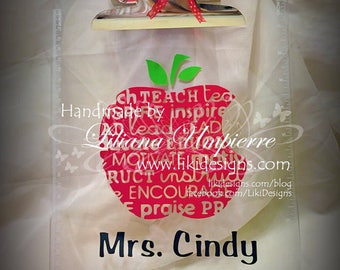 Clear vinyl personalized teacher clipboard with assorted ribbons