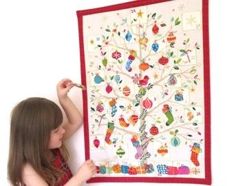 Fabric Advent Calendar - Christmas calendar countdown - Christmas Advent calender - Advent for kids - Christmas tree advent calendar