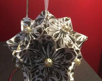 """Handmade """"Gold Swirls"""" Kusudama Christmas Ornament"""