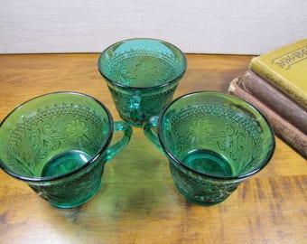 Set of Three (3) Emerald Green Sandwich Glass Cups