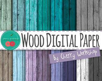 "Wood Backgrounds ""Cold Colors Wood"" Digital Backgrounds Wood Texture Blue Wood background Purple Wood Digital Paper"
