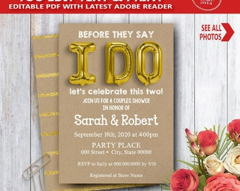 I do invitation Couples Shower foil gold balloon Bridal Shower engagement rehearsal party kraft invite YOU EDIT TEXT & print invite 14162