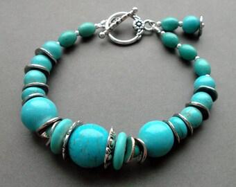blue bracelet turquoise. silver bracelet blue turquoise stones. gift for her. gift for women. birthday gift. for wife. gift wife christmas.