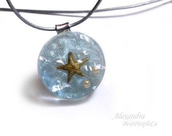 OOAK, Summer Necklace, Piece of Ocean, Pendant with real Starfish, Handmade, Summer Gift, Summer Jewelry, Resin