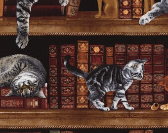 Cat Fabric, Cats in the library, by Timeless Treasures, Cotton Fabric,  1/2 Yard Piece