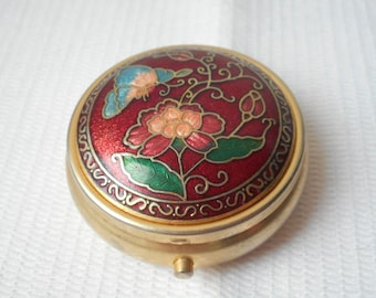 stunning vintage French metal and enamel pill box / trinket box collectible